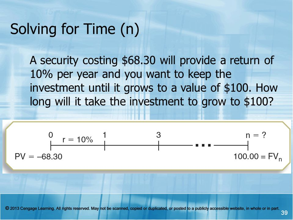 Solving for Time (n) 39 A security costing $68.30 will provide a return of 10% per year and you want to keep the investment until it grows to a value of $100.