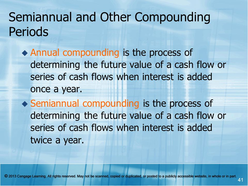 Semiannual and Other Compounding Periods  Annual compounding is the process of determining the future value of a cash flow or series of cash flows when interest is added once a year.