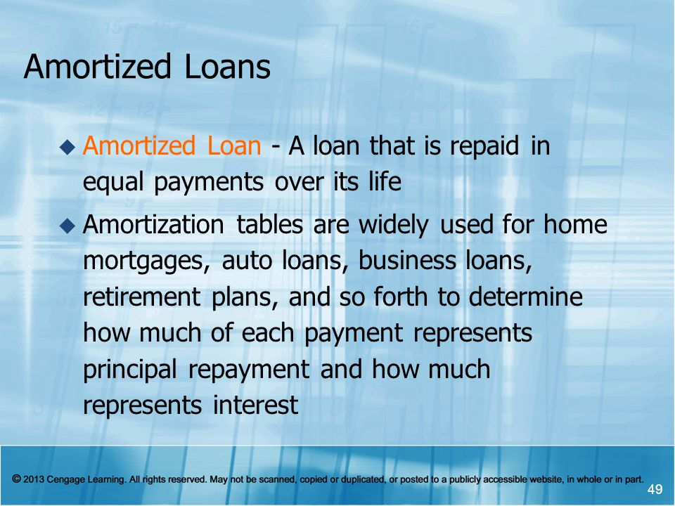 Amortized Loans  Amortized Loan - A loan that is repaid in equal payments over its life  Amortization tables are widely used for home mortgages, auto loans, business loans, retirement plans, and so forth to determine how much of each payment represents principal repayment and how much represents interest 49