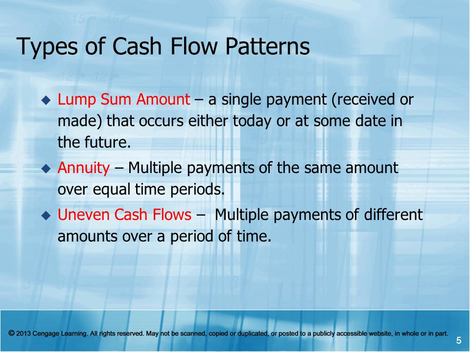 Types of Cash Flow Patterns  Lump Sum Amount – a single payment (received or made) that occurs either today or at some date in the future.