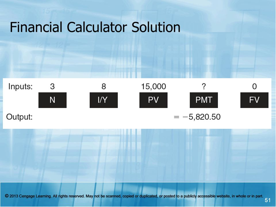Financial Calculator Solution 51