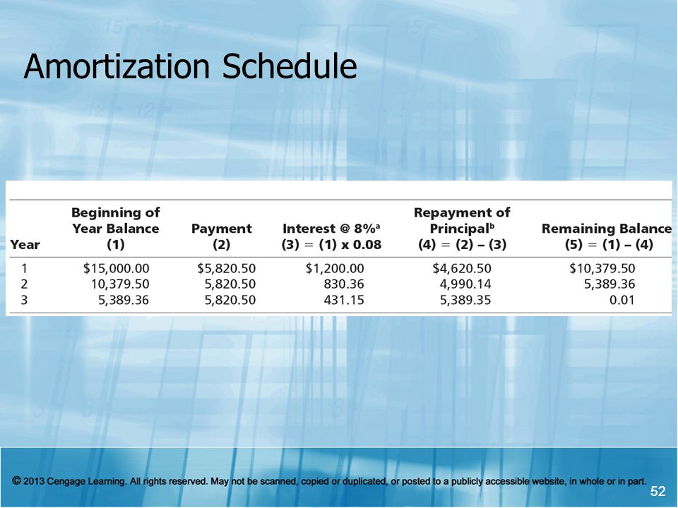 Amortization Schedule 52