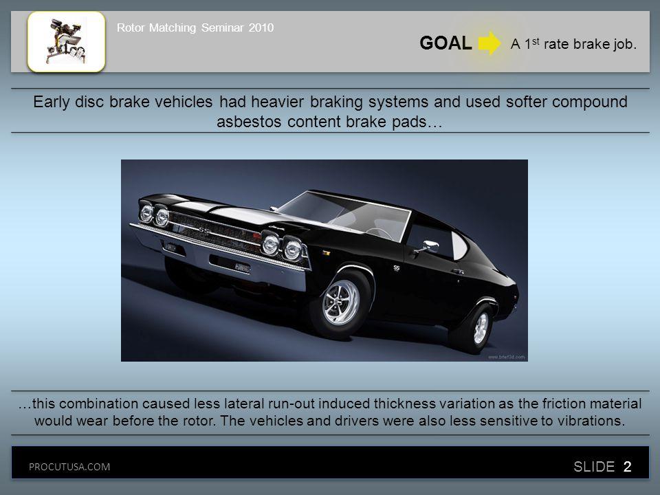 GOAL A 1 st rate brake job.
