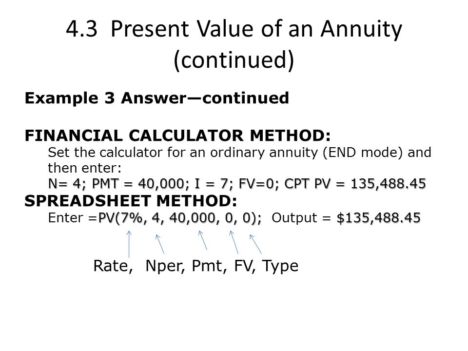 4.3 Present Value of an Annuity (continued) Example 3 Answer—continued FINANCIAL CALCULATOR METHOD: Set the calculator for an ordinary annuity (END mode) and then enter: N= 4; PMT = 40,000; I = 7; FV=0; CPT PV = 135,488.45 SPREADSHEET METHOD: PV(7%, 4, 40,000, 0, 0); $135,488.45 Enter =PV(7%, 4, 40,000, 0, 0); Output = $135,488.45 Rate, Nper, Pmt, FV, Type