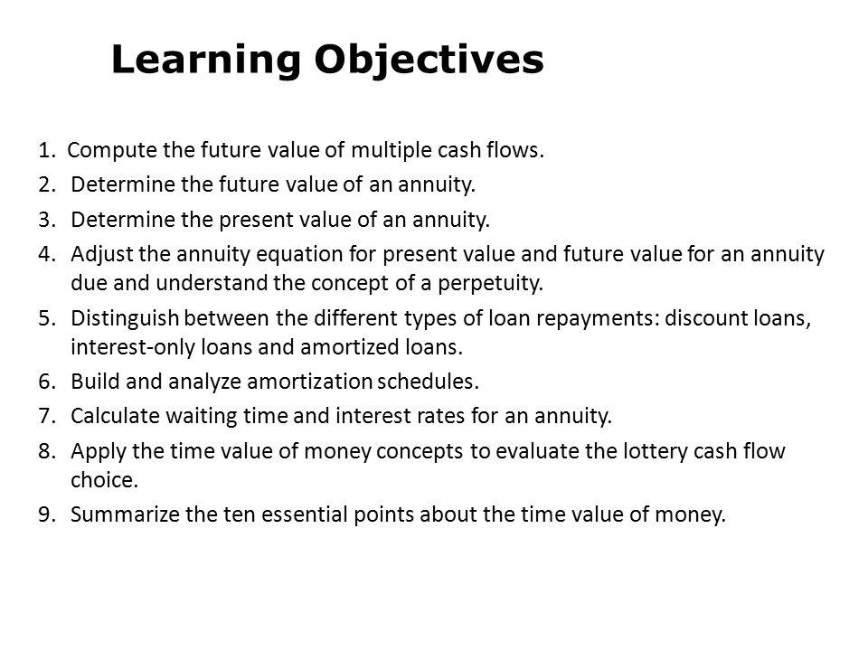 1.Compute the future value of multiple cash flows.