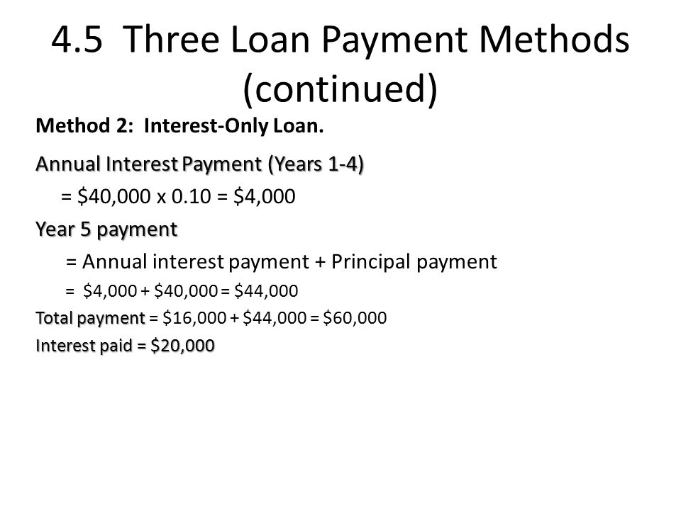 4.5 Three Loan Payment Methods (continued) Method 2: Interest-Only Loan.