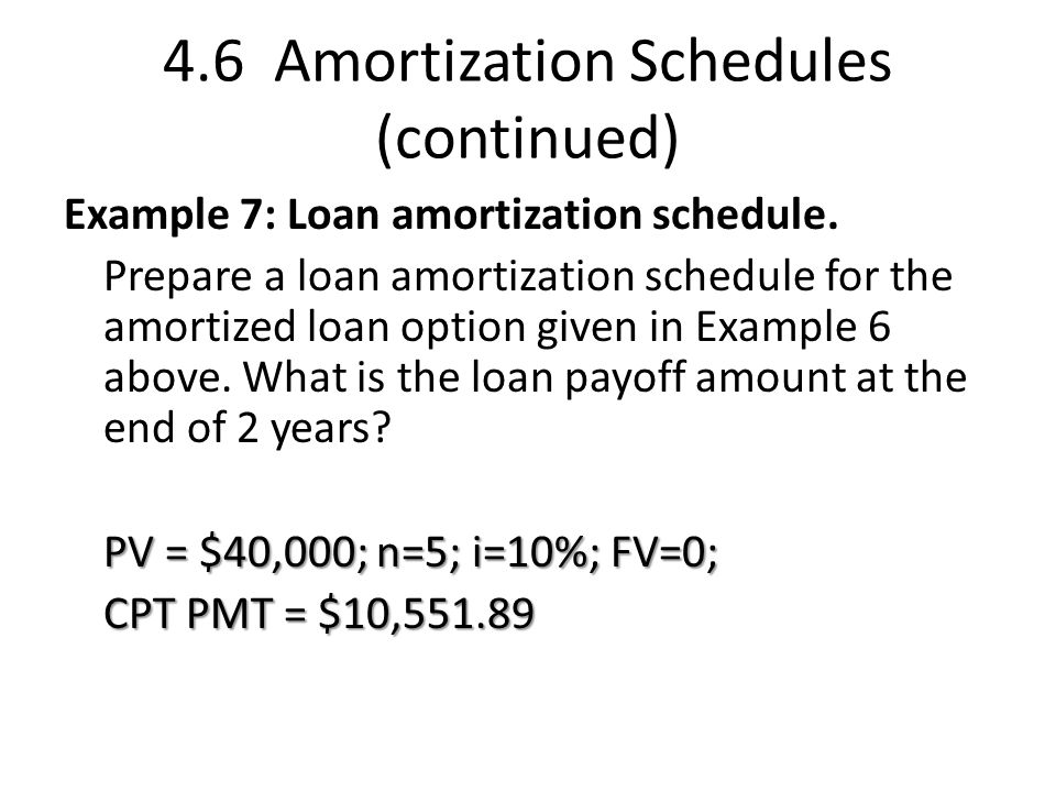 4.6 Amortization Schedules (continued) Example 7: Loan amortization schedule.