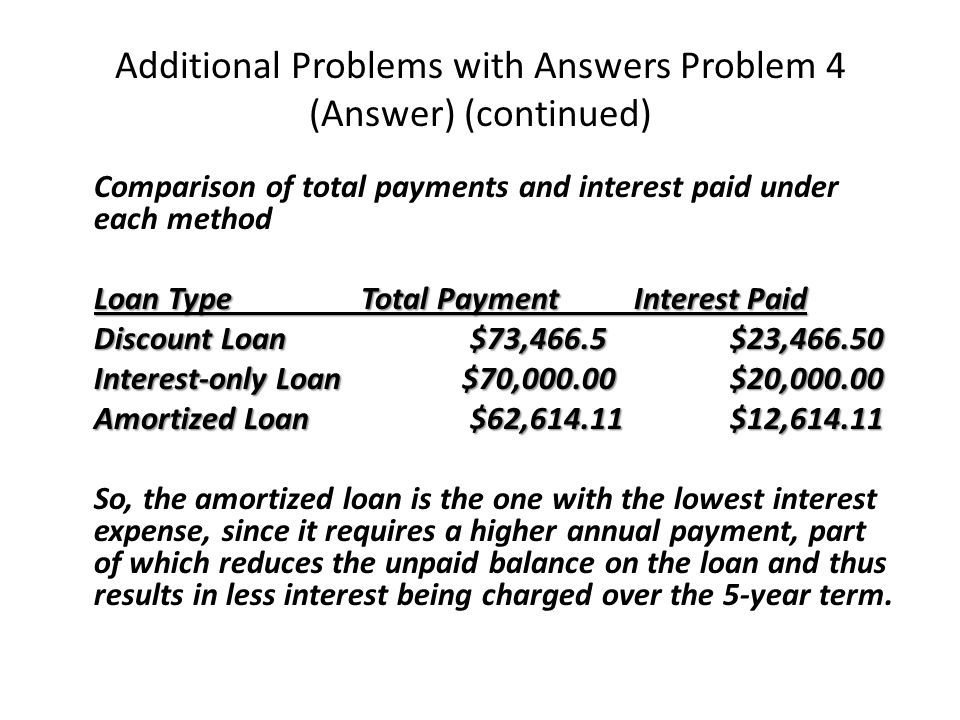 Additional Problems with Answers Problem 4 (Answer) (continued) Comparison of total payments and interest paid under each method Loan Type Total PaymentInterest Paid Discount Loan $73,466.5$23,466.50 Interest-only Loan $70,000.00$20,000.00 Amortized Loan $62,614.11$12,614.11 So, the amortized loan is the one with the lowest interest expense, since it requires a higher annual payment, part of which reduces the unpaid balance on the loan and thus results in less interest being charged over the 5-year term.