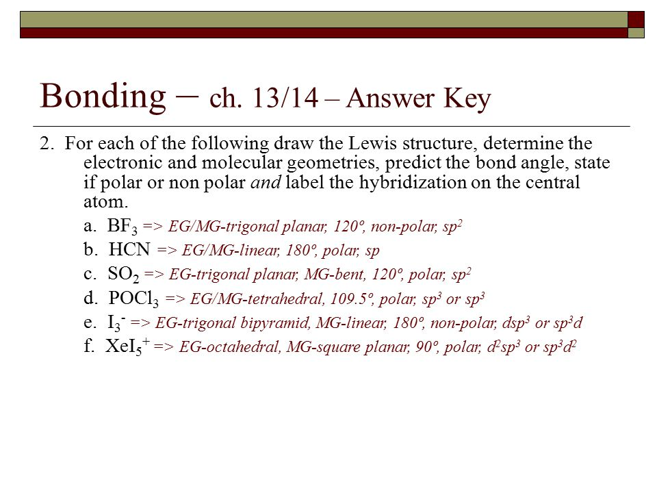 Bonding – ch.13/14 – Answer Key 2.