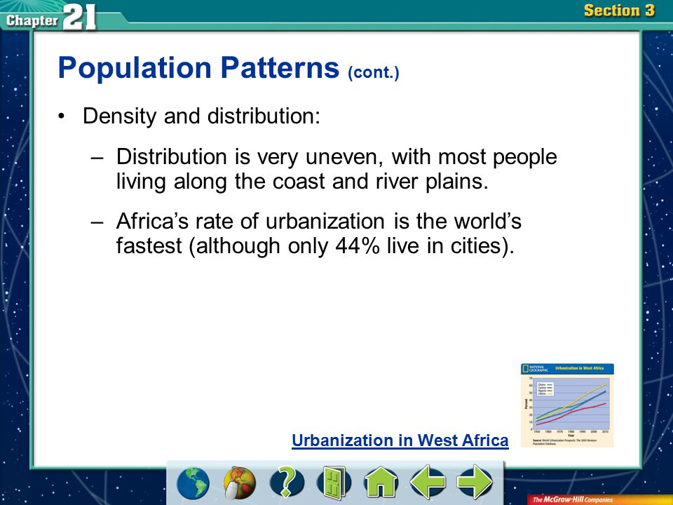 Section 3 Population Patterns (cont.) Density and distribution: –Distribution is very uneven, with most people living along the coast and river plains.