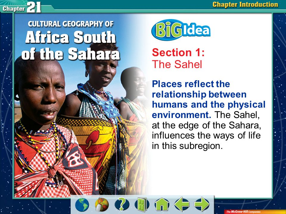 Chapter Intro 2 Section 1: The Sahel Places reflect the relationship between humans and the physical environment.