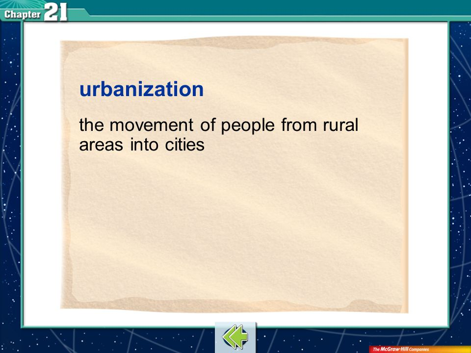 Vocab9 urbanization the movement of people from rural areas into cities