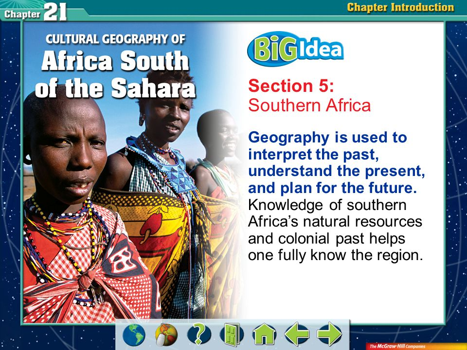 Chapter Intro 6 Section 5: Southern Africa Geography is used to interpret the past, understand the present, and plan for the future.