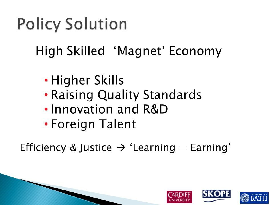 High Skilled 'Magnet' Economy Higher Skills Raising Quality Standards Innovation and R&D Foreign Talent Efficiency & Justice  'Learning = Earning'