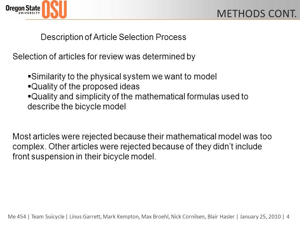4Me 454 | Team Suicycle | Linus Garrett, Mark Kempton, Max Broehl, Nick Cornilsen, Blair Hasler | January 25, 2010 | METHODS CONT.