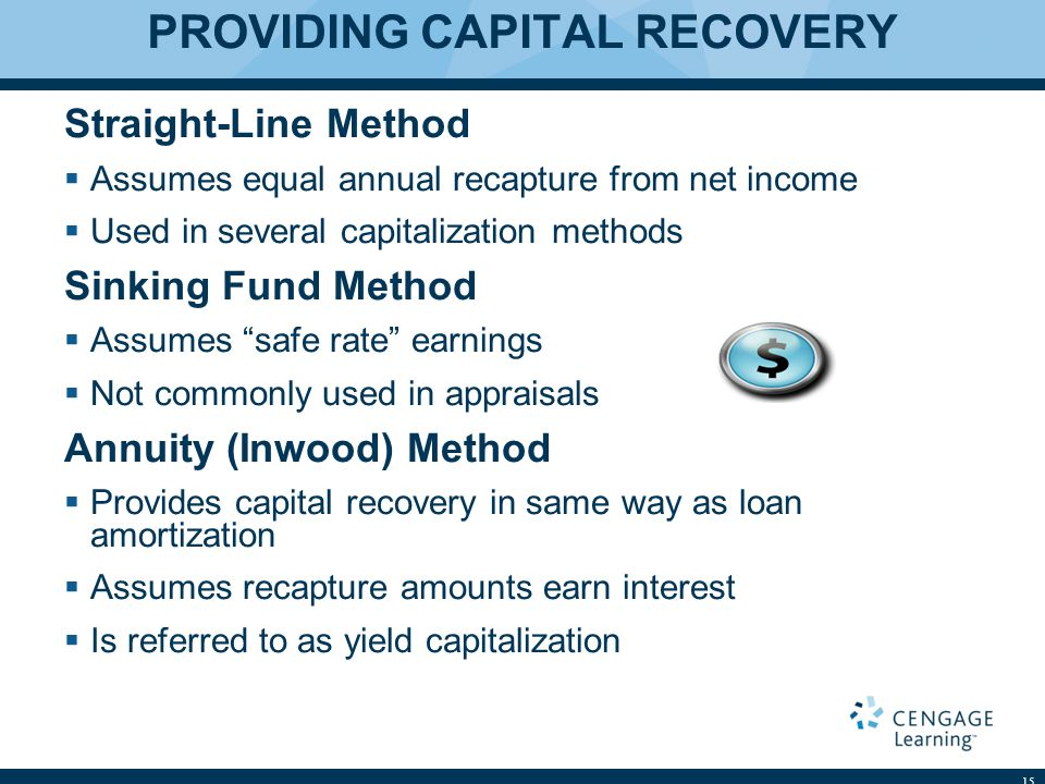 PROVIDING CAPITAL RECOVERY Straight-Line Method  Assumes equal annual recapture from net income  Used in several capitalization methods Sinking Fund Method  Assumes safe rate earnings  Not commonly used in appraisals Annuity (Inwood) Method  Provides capital recovery in same way as loan amortization  Assumes recapture amounts earn interest  Is referred to as yield capitalization 15