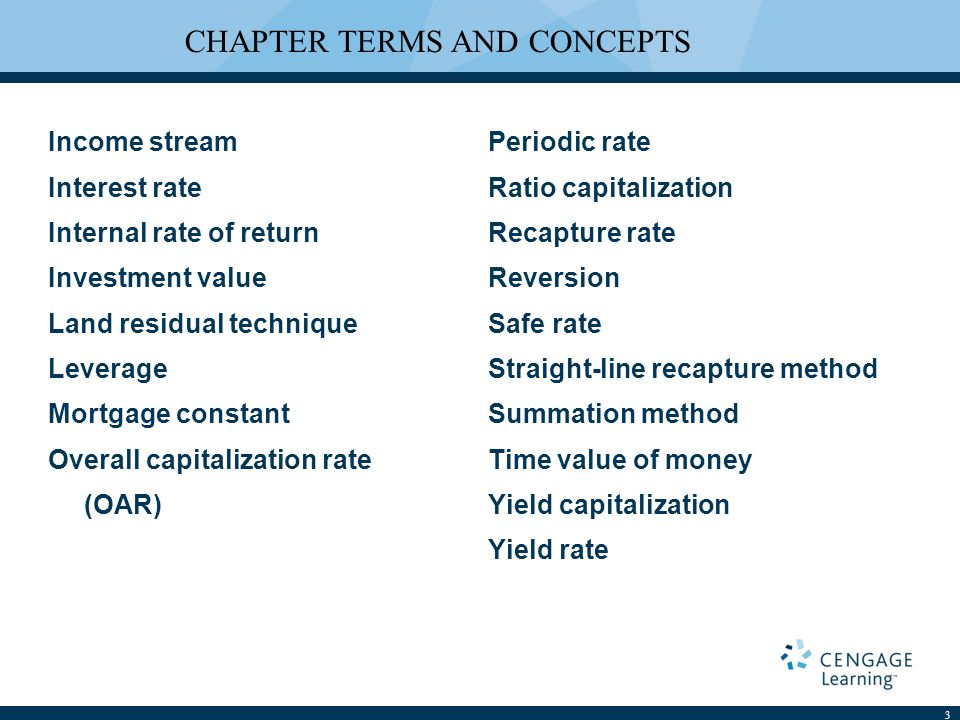 Income stream Interest rate Internal rate of return Investment value Land residual technique Leverage Mortgage constant Overall capitalization rate (OAR) Periodic rate Ratio capitalization Recapture rate Reversion Safe rate Straight-line recapture method Summation method Time value of money Yield capitalization Yield rate 3 CHAPTER TERMS AND CONCEPTS