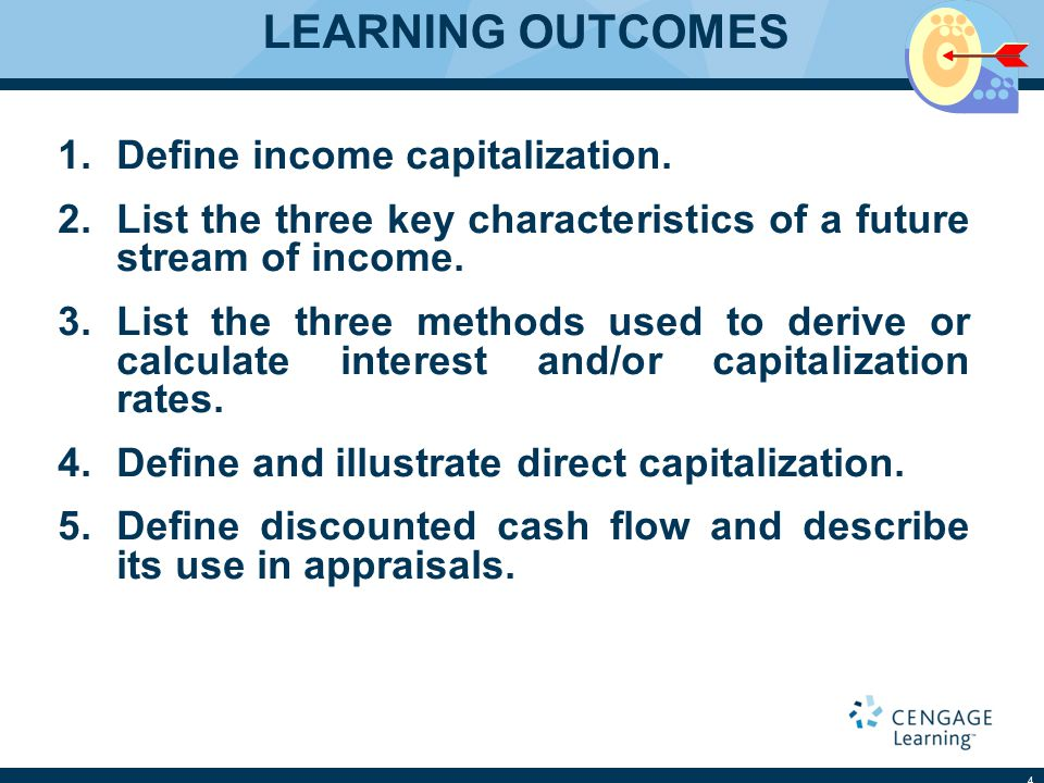 INCOME CAPITALIZATION Definition  Income Capitalization Translates Income into its Capital Equivalent Income Characteristics  Quality  Quantity  Duration 5