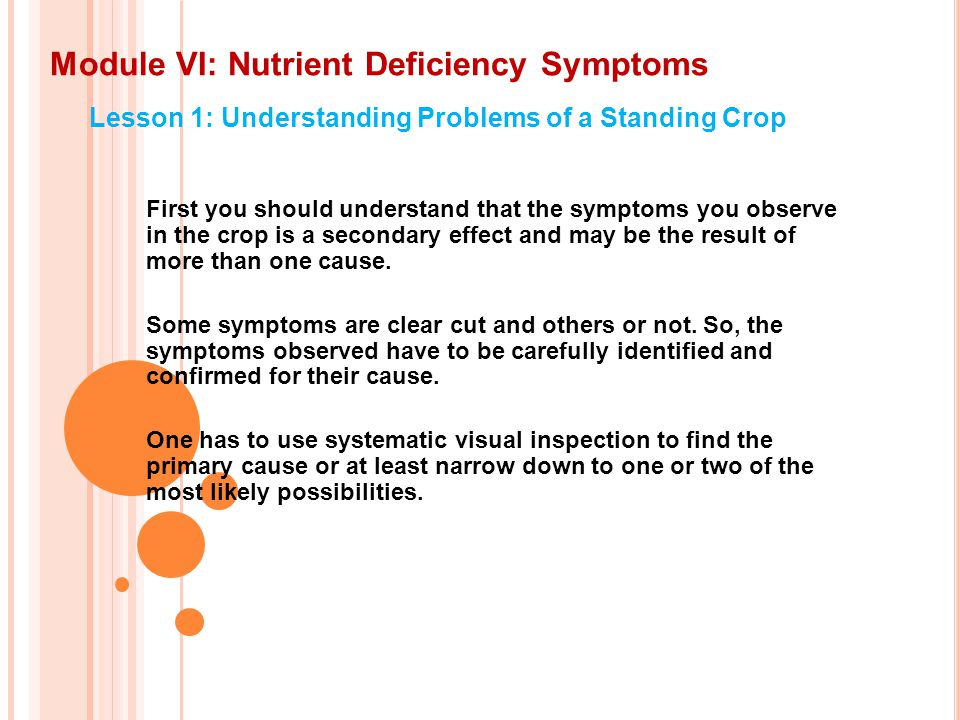 Module VI: Nutrient Deficiency Symptoms Lesson 1: Understanding Problems of a Standing Crop First you should understand that the symptoms you observe in the crop is a secondary effect and may be the result of more than one cause.