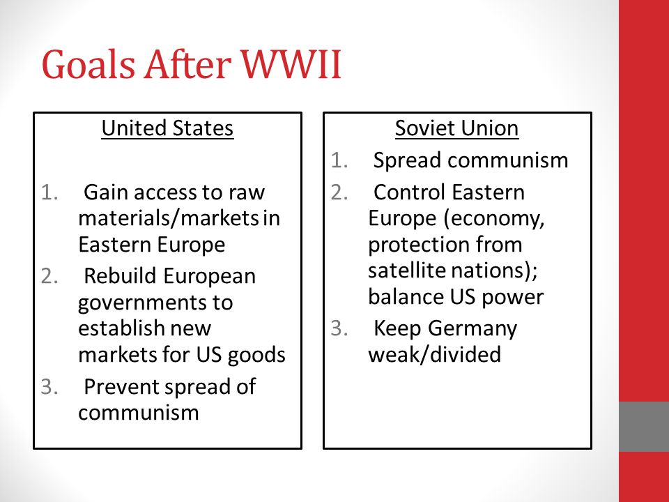 Goals After WWII United States 1. Gain access to raw materials/markets in Eastern Europe 2. Rebuild European governments to establish new markets for