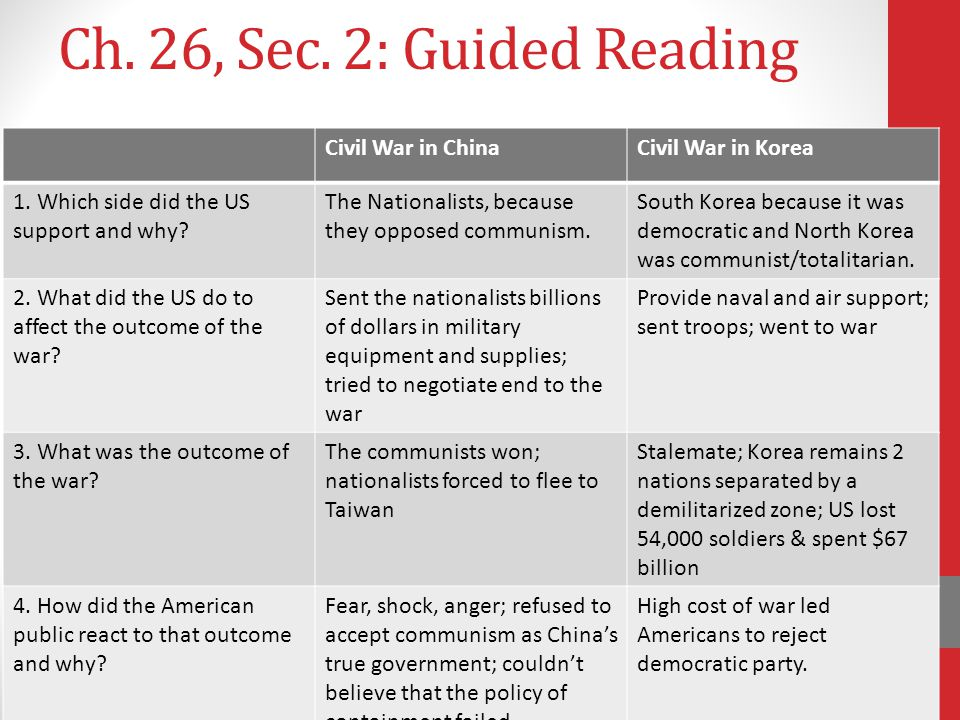Ch. 26, Sec. 2: Guided Reading Civil War in ChinaCivil War in Korea 1. Which side did the US support and why? The Nationalists, because they opposed c