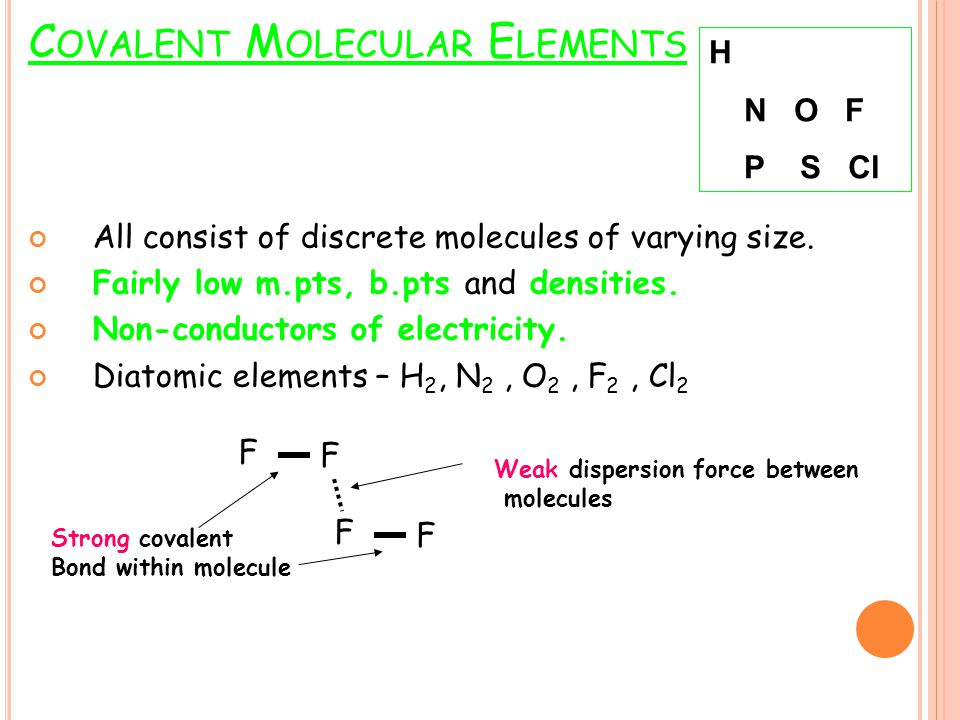 C OVALENT M OLECULAR E LEMENTS All consist of discrete molecules of varying size. Fairly low m.pts, b.pts and densities. Non-conductors of electricity