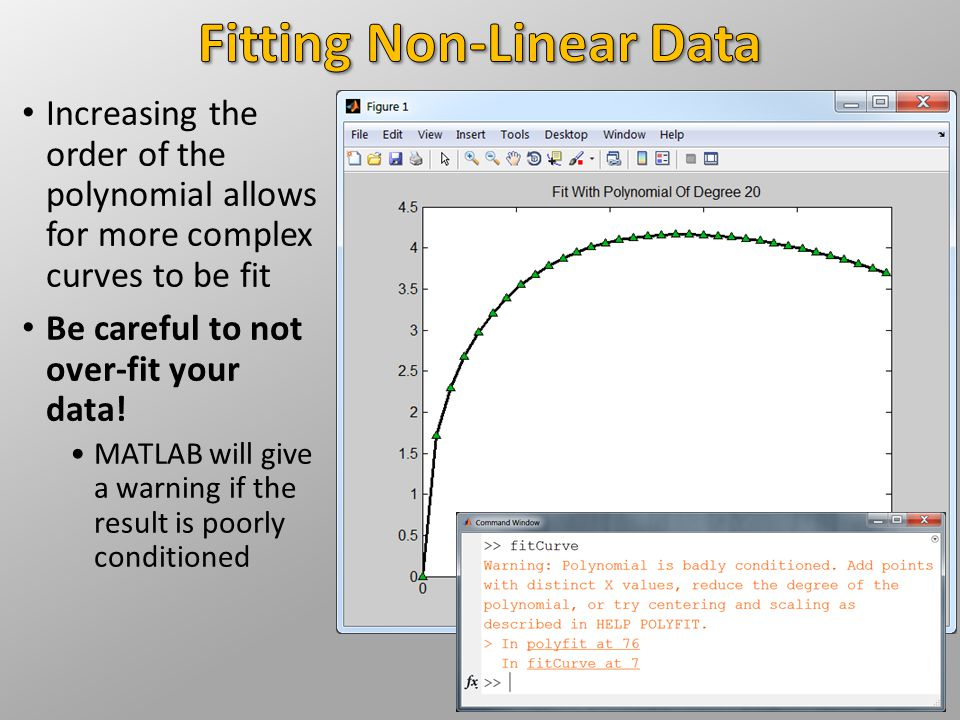 Increasing the order of the polynomial allows for more complex curves to be fit Be careful to not over-fit your data.