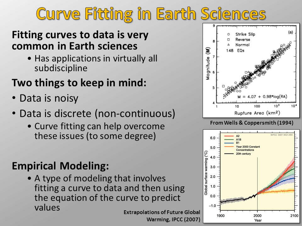 Fitting curves to data is very common in Earth sciences Has applications in virtually all subdiscipline Two things to keep in mind: Data is noisy Data is discrete (non-continuous) Curve fitting can help overcome these issues (to some degree) Empirical Modeling: A type of modeling that involves fitting a curve to data and then using the equation of the curve to predict values From Wells & Coppersmith (1994) Extrapolations of Future Global Warming, IPCC (2007)
