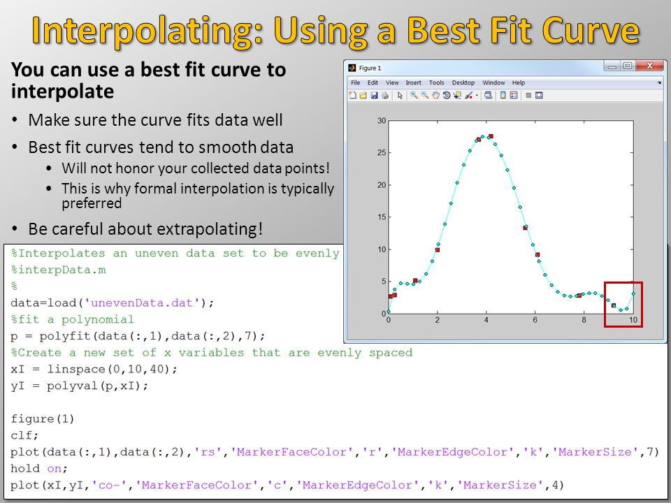 You can use a best fit curve to interpolate Make sure the curve fits data well Best fit curves tend to smooth data Will not honor your collected data points.