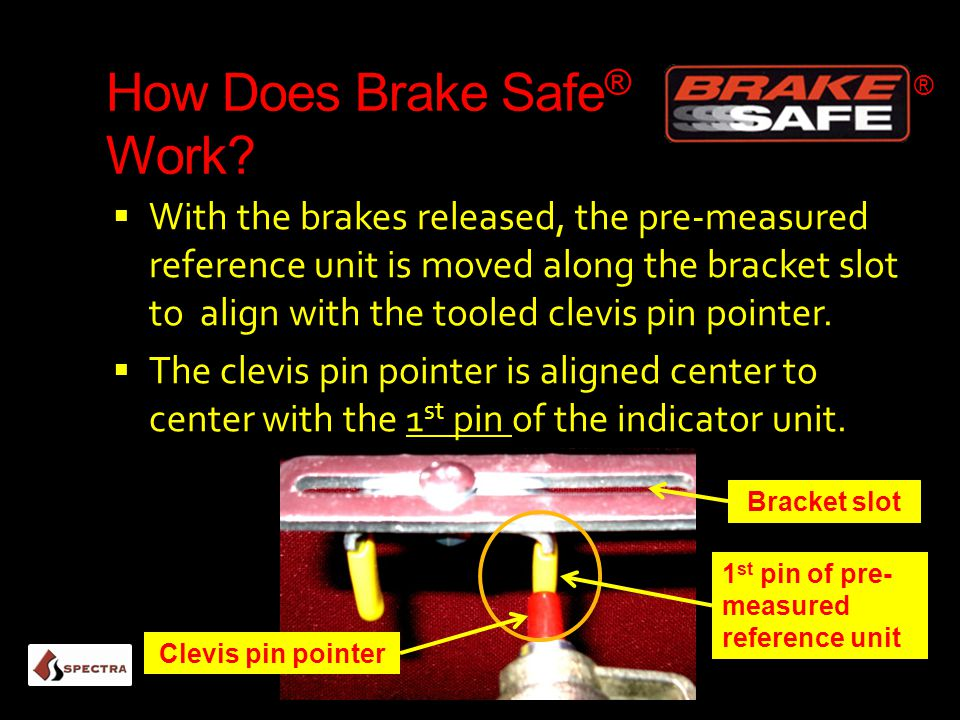How Does Brake Safe ® Work?  With the brakes released, the pre-measured reference unit is moved along the bracket slot to align with the tooled clevi