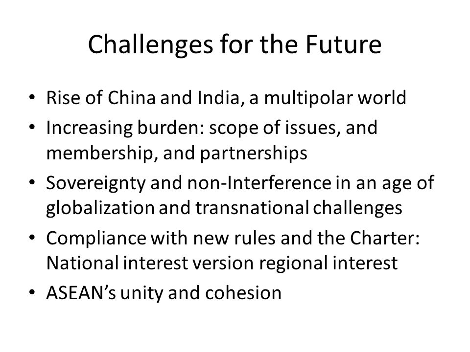 Challenges for the Future Rise of China and India, a multipolar world Increasing burden: scope of issues, and membership, and partnerships Sovereignty