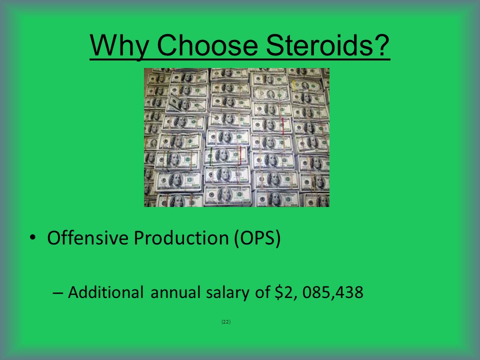 Why Choose Steroids Offensive Production (OPS) – Additional annual salary of $2, 085,438 (22)