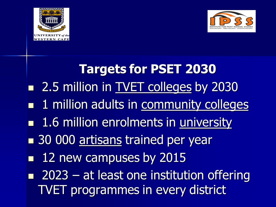 Targets for PSET 2030 2.5 million in TVET colleges by 2030 2.5 million in TVET colleges by 2030 1 million adults in community colleges 1 million adults in community colleges 1.6 million enrolments in university 1.6 million enrolments in university 30 000 artisans trained per year 30 000 artisans trained per year 12 new campuses by 2015 12 new campuses by 2015 2023 – at least one institution offering TVET programmes in every district 2023 – at least one institution offering TVET programmes in every district