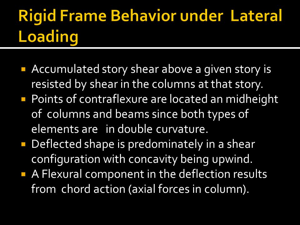  Accumulated story shear above a given story is resisted by shear in the columns at that story.  Points of contraflexure are located an midheight of