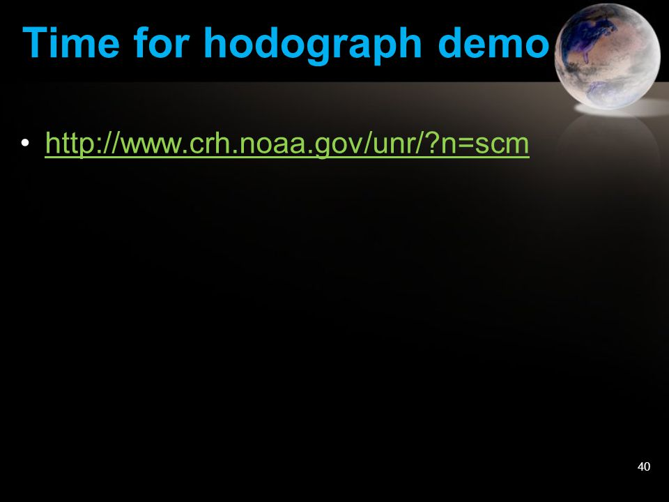 Time for hodograph demo http://www.crh.noaa.gov/unr/?n=scm 40