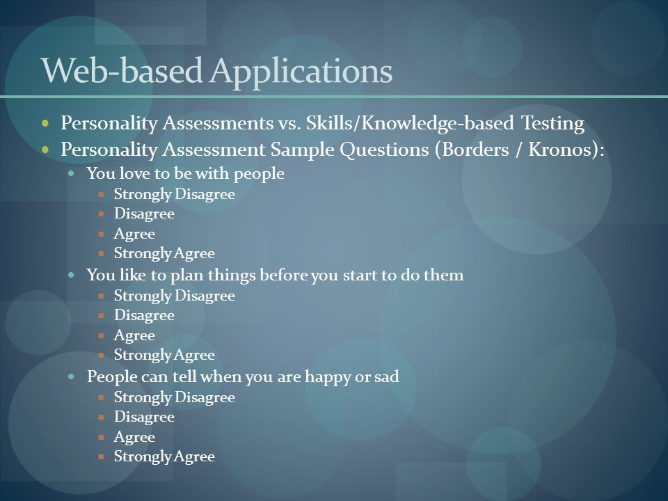 Web-based Applications Personality Assessments vs.
