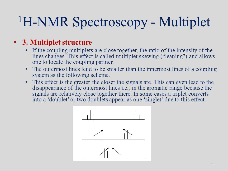 1 H-NMR Spectroscopy - Multiplet 3. Multiplet structure If the coupling multiplets are close together, the ratio of the intensity of the lines changes