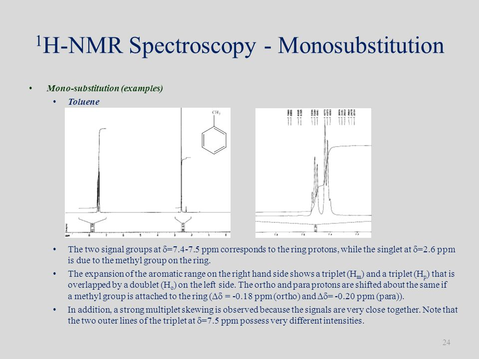 1 H-NMR Spectroscopy - Monosubstitution Mono-substitution (examples) Toluene The two signal groups at  =7.4-7.5 ppm corresponds to the ring protons, while the singlet at  =2.6 ppm is due to the methyl group on the ring.
