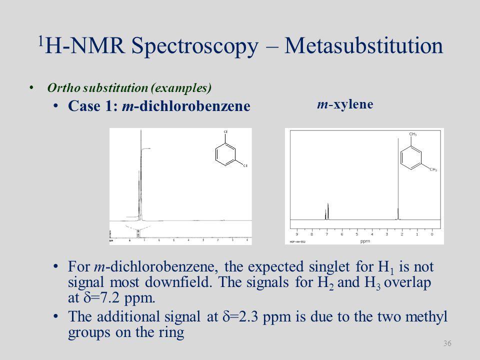 1 H-NMR Spectroscopy – Metasubstitution Ortho substitution (examples) Case 1: m-dichlorobenzene For m-dichlorobenzene, the expected singlet for H 1 is