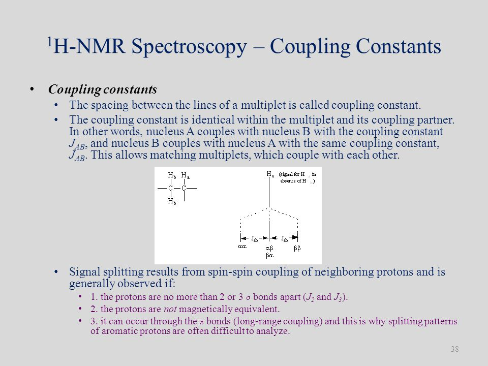 1 H-NMR Spectroscopy – Coupling Constants Coupling constants The spacing between the lines of a multiplet is called coupling constant.