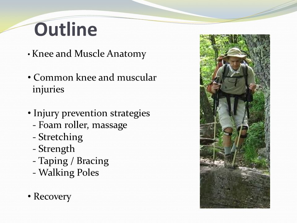 Outline Knee and Muscle Anatomy Common knee and muscular injuries Injury prevention strategies - Foam roller, massage - Stretching - Strength - Taping / Bracing - Walking Poles Recovery