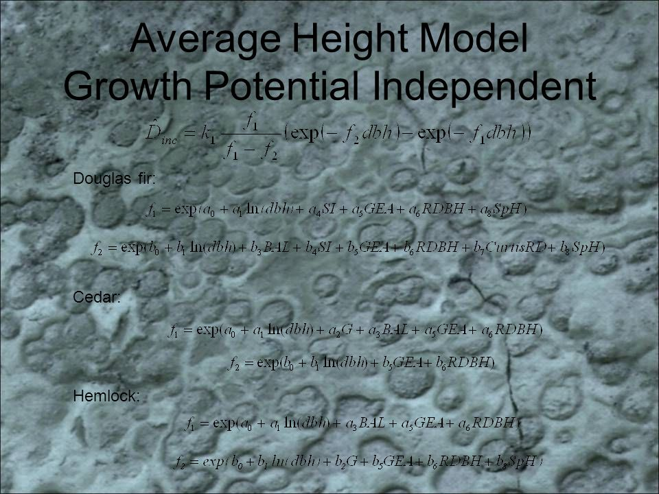 Average Height Model Growth Potential Independent Douglas fir: Cedar: Hemlock: