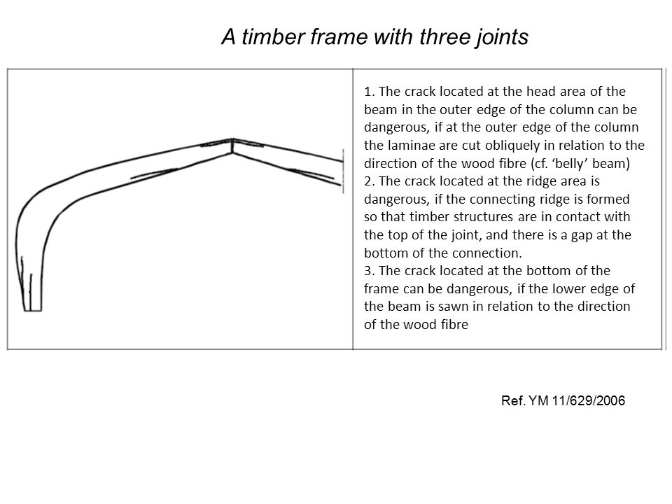 Ref. YM 11/629/2006 A timber frame with three joints 1. The crack located at the head area of the beam in the outer edge of the column can be dangerou