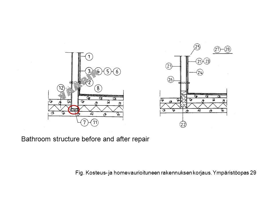 Fig. Kosteus- ja homevaurioituneen rakennuksen korjaus.