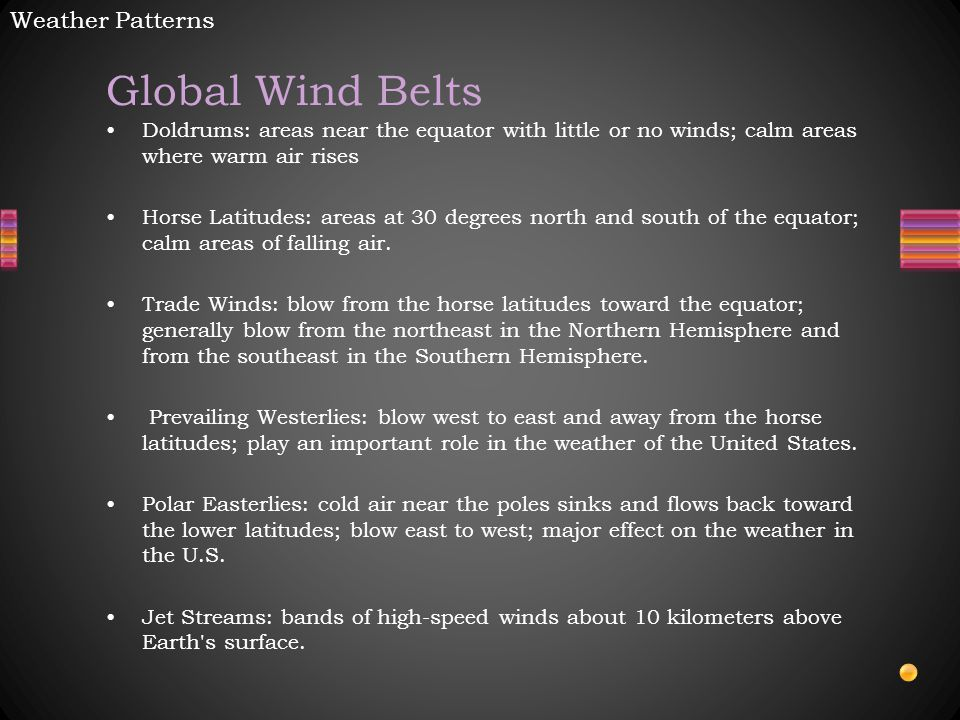 Global Wind Belts Doldrums: areas near the equator with little or no winds; calm areas where warm air rises Horse Latitudes: areas at 30 degrees north and south of the equator; calm areas of falling air.
