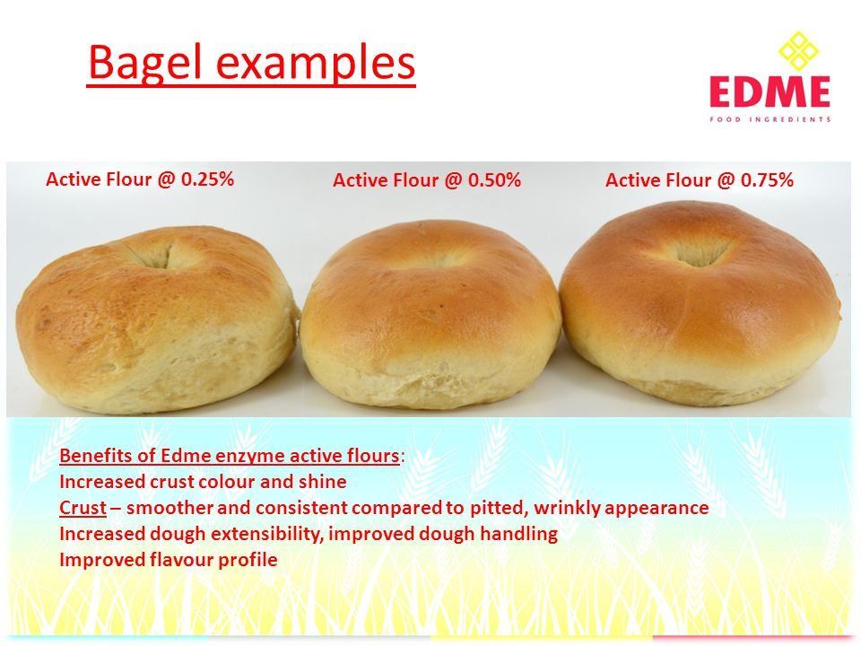 Bagel examples Active Flour @ 0.25% Active Flour @ 0.50%Active Flour @ 0.75% Benefits of Edme enzyme active flours: Increased crust colour and shine Crust – smoother and consistent compared to pitted, wrinkly appearance Increased dough extensibility, improved dough handling Improved flavour profile