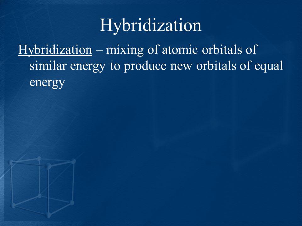 Hybridization Hybridization – mixing of atomic orbitals of similar energy to produce new orbitals of equal energy