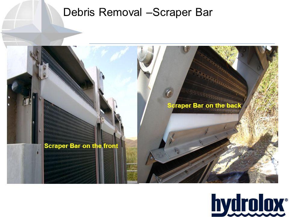 Debris Removal –Scraper Bar Scraper Bar on the front Scraper Bar on the back