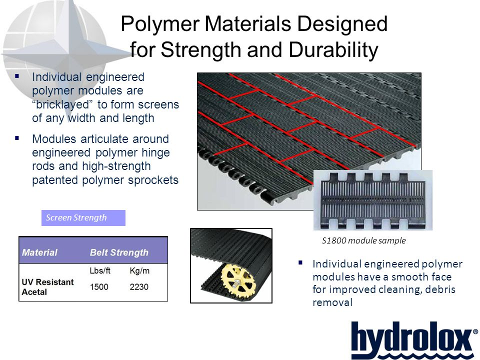 Polymer Materials Designed for Strength and Durability  Individual engineered polymer modules are bricklayed to form screens of any width and length  Modules articulate around engineered polymer hinge rods and high-strength patented polymer sprockets S1800 module sample Screen Strength  Individual engineered polymer modules have a smooth face for improved cleaning, debris removal