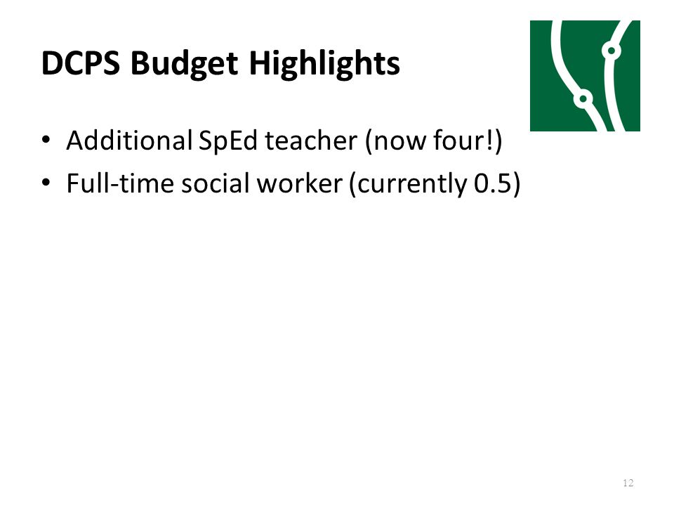 DCPS Budget Highlights 12 Additional SpEd teacher (now four!) Full-time social worker (currently 0.5)